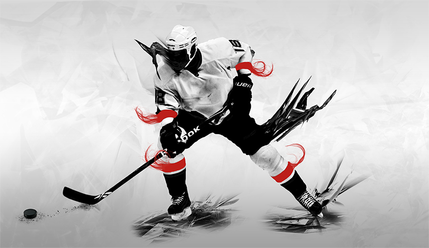 Ice hockey player & graphics